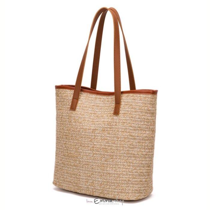 EmmaShop艾購物-夏季必備草編托特包/購物袋/草編包
