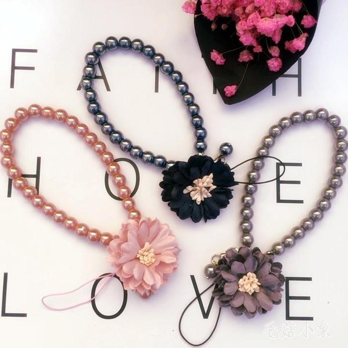 日韓可愛水晶珍珠掛脖繩手腕帶繩子水鉆掛飾手機鏈   LY7456 【優の館】