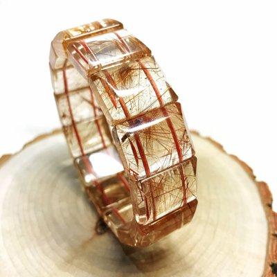 【收藏家】頂級天然紅銅鈦晶手排 高檔清透料 20mm/75g