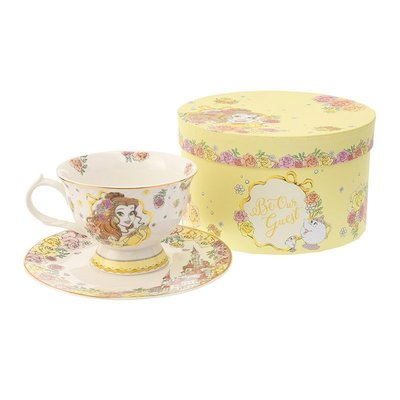 美女與野獸貝兒陶瓷咖啡杯禮盒組 下午茶杯 含托盤 日本迪士尼商店正版~彤小皮的遊go世界