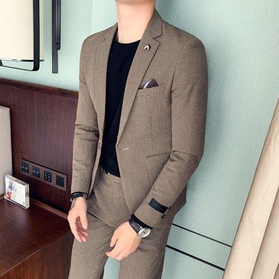 【時尚先生男裝】英倫型男修身千鳥格西裝兩件套韓版休閑西服伴郎商務晚宴套裝禮服韓版西裝 修身西裝 整套西裝 西裝褲 西裝外套正式西裝A0012