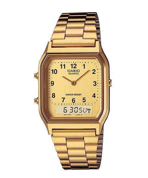 [ㄚ寶3C ] CASIO AQ-230GA-9B 金色復古雙顯錶.生活防水.附台灣原廠保證書 AQ-230GA