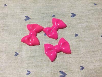 31mm*22mm 桃紅 蝴蝶結 造型DIY素材 奶油殼 貼鑽小物 飾品材料 (現貨)