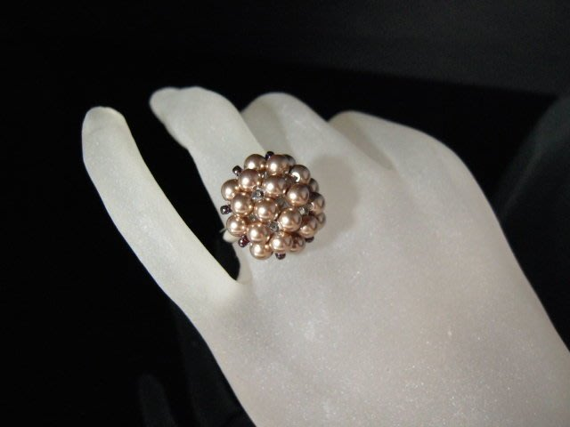 ※水晶玫瑰※ SWAROVSKI 水晶珍珠戒指~ 銀咖啡(HAND45)