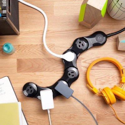 四孔短版:黑色※台北快貨※美國原裝 Quirky Pivot Power 2.0 Junior 二代薄型可彎曲延長線