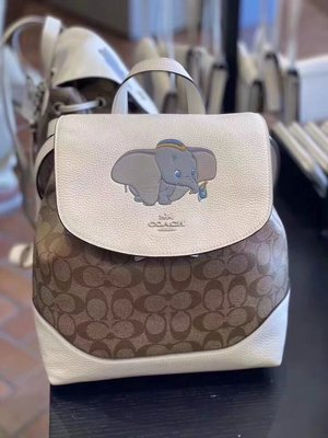 Outlet代購 Coach x Disney聯名小飛象白色老花logo雙肩包