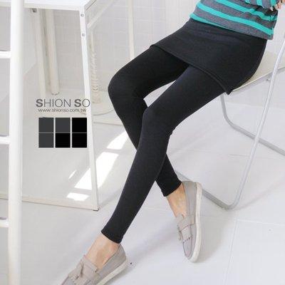 享瘦衣身中大尺碼【B2020】層次主軸假兩件式短裙拼接內搭褲