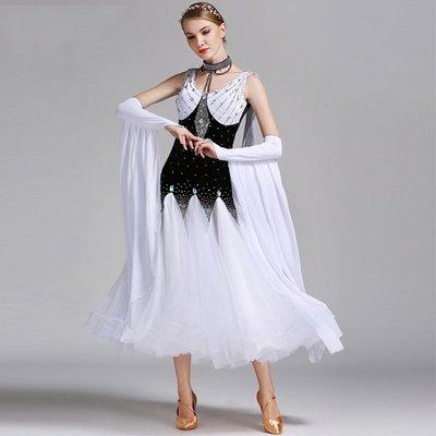 摩登舞裙連衣裙GB   國標舞服表演裙演出服鑲鑽探戈比賽服