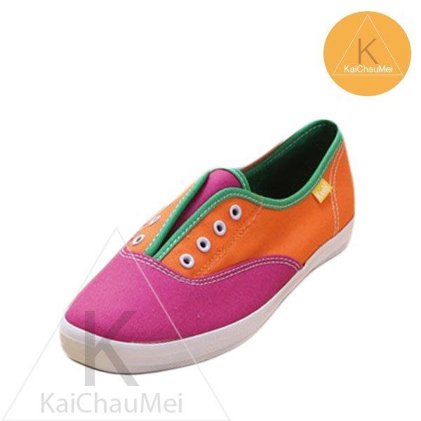 凱喬美│Taylor Swift for Keds 泰勒斯 撞色 夏日躍動橘桃紅 拼接 鞋孔 懶人 帆布鞋 散步時尚女孩