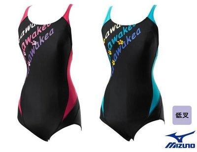 ~BB泳裝~ MIZUNO FUNDAMENTAL連身三角印花泳衣 低叉 紅 藍  Z96EBA05系列