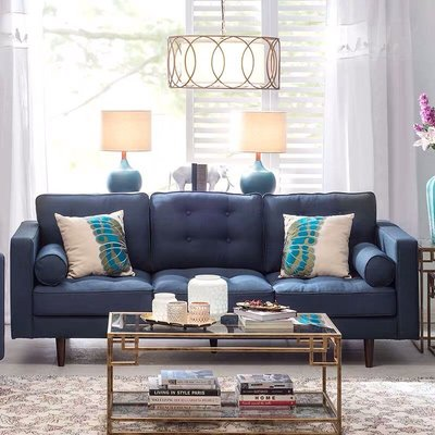 【Eze Art Deco】美國設計師傢飾,美國進口藏青色壓扣布藝三人沙發,布沙發休閒沙發美式沙發/另有單人及三人款式