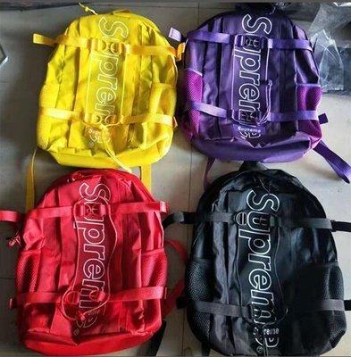 新款時尚潮流supreme雙肩包書包學生書包情侶款休閒運動素色後背包短途旅遊包