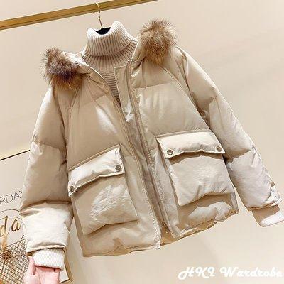 【HKI Wardrobe】2018冬季新款韓國顯瘦連帽毛領口袋加厚短款羽絨棉衣女面包服棉襖