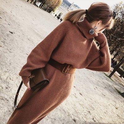 針織洋裝裙子 秋冬長版蝙蝠袖套頭毛衣連身裙+皮帶 艾爾莎【TAE8098】