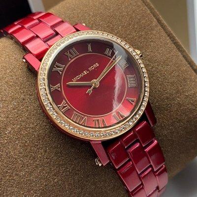 MK邁克科爾斯女錶,編號MK3896,28mm紅色圓形陶瓷錶殼,紅色簡約, 羅馬數字, 陶瓷款錶面,紅色陶瓷錶帶款