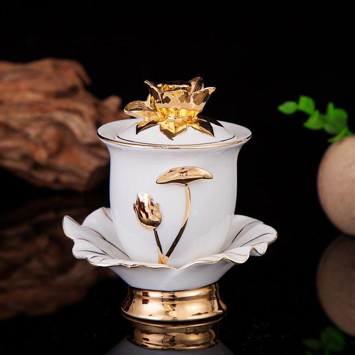 雜貨小鋪 供水杯家用 供佛水杯陶瓷蓮花觀音水杯蓮花凈水杯 圣水杯佛杯