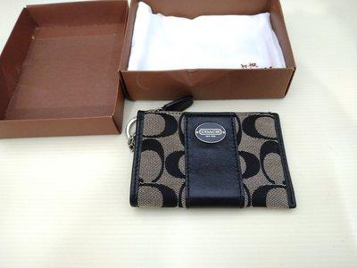 ☆誠信3C☆最便宜二手極新 盒裝 真品正品 黑暗色 COACH 經典 帥氣錢包 只要1千5也可用各式物品交換