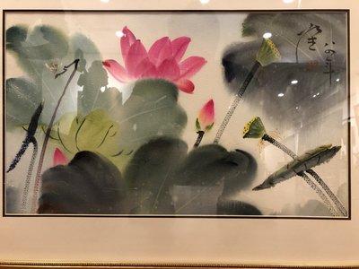 [客人寄賣] 張杰 荷花 56X34cm (水彩、水墨、彩墨、上海、浙江、當代、藝術、荷花、席德進)