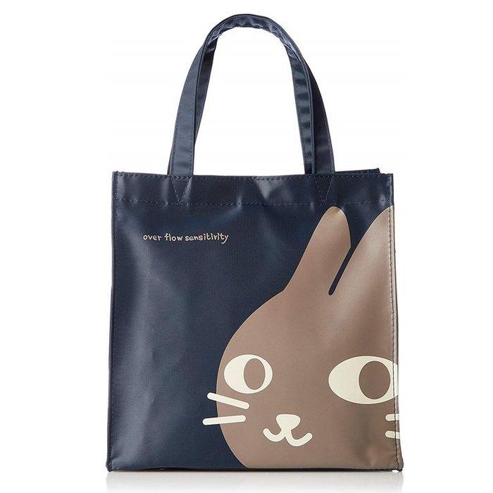 【露西小舖】日本NEKONINGEN輕量防水小手提袋(貓咪臉圖案)手提包便當袋飲料袋適合上班等場所使用[日本平行輸入]