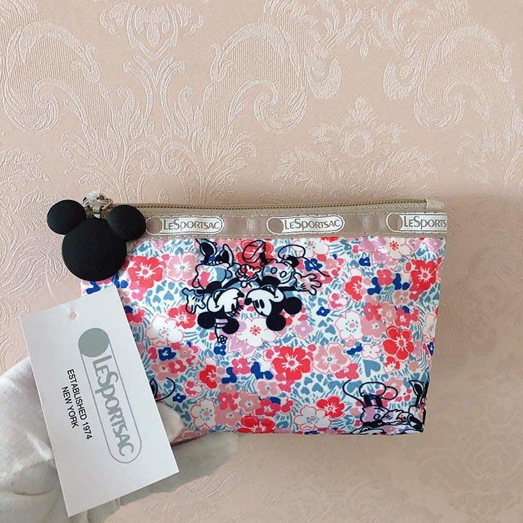 米莉亞代購 LeSportsac Disney 2724 粉色米奇米妮 化妝包收納包 降落傘防水材質 限量 預購