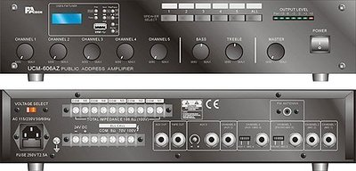 【昌明視聽】 專業級廣播系統擴大機 PA TECH UCM-624AZ USB MP3 FM 收音 五分區切換播音