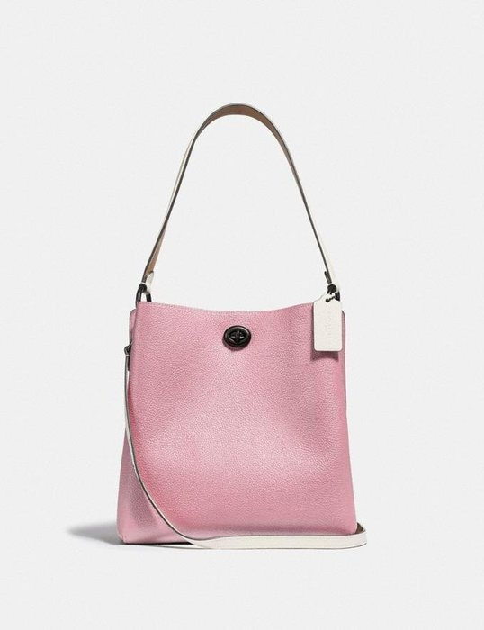 Coco小舖COACH 89100 Charlie Bucket Bag In Colorblock 粉紅/駝雙色水桶包