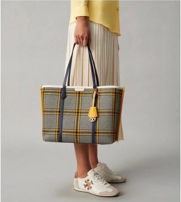 ╭☆包媽子店☆Tory Burch PERRY PLAID TRIPLE COMPARTMENT TOTE 托特包購物袋