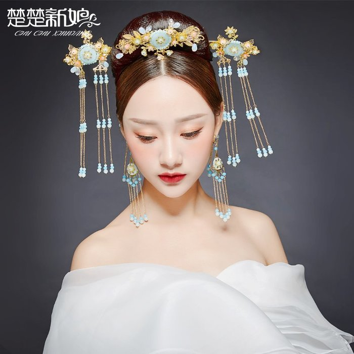 洛克小店新款新娘頭飾中式古裝漢服流蘇發飾秀禾服龍鳳褂鳳冠婚禮結婚飾品