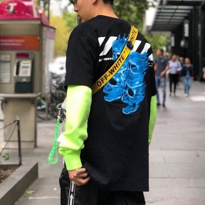 19SS!OW OFF-WHITE flaming skull藍色火焰骷髏短Tee 女神款完美版 virgil主理cdg