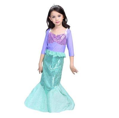 蜜寶貝*中大女童-長袖晚禮服珠片公主裙(送頭飾) 洋裝 萬聖節/聖誔造型裝-尺寸100-150CM 約2-13歲-002