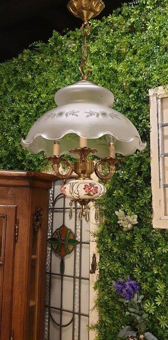 【卡卡頌  歐洲古董】💐法國老件 手繪  水晶  花朵燈罩 可愛古典 瓷燈  油燈造型 l0328
