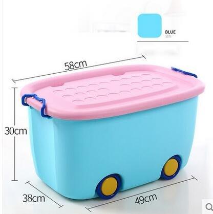 沃之沃特大號儲物箱兒童玩具卡通塑料收納箱帶輪衣物置物整理箱子