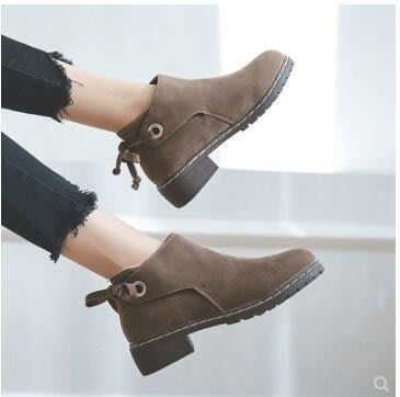麥麥部落 短靴馬丁靴女單靴低跟短靴女英倫風學生秋冬裸靴女靴MB9D8