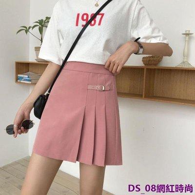 DS_08網紅時尚小姐姐日本學院風皮搭扣簡約黑色半身裙短裙JK學生裙子洋裝女春夏裝潮