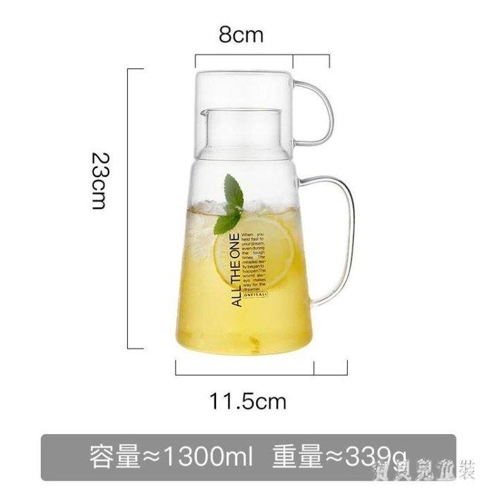家用玻璃冷水壺 加厚耐熱高溫防爆透明涼水杯 大容量涼水壺 CJ4619   免運