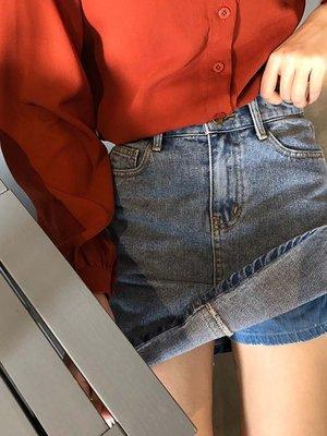2020春款新款高腰百搭短裙牛仔裙褲韓版包臀A字短裙女學生半身裙