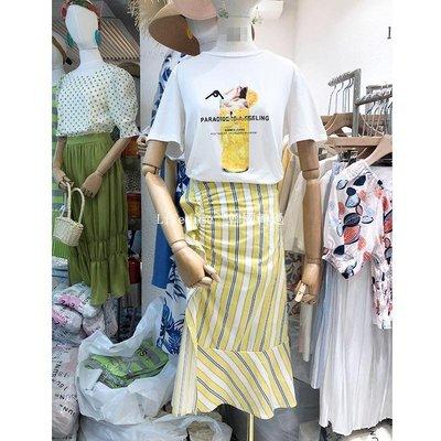 Lifetime~~韓國專櫃韓國2019夏新款1SUN寬松印花圖案短袖T恤ins荷葉邊半身裙兩件套女