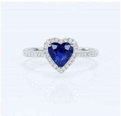 18K金天然心形皇家藍藍寶石鑽戒