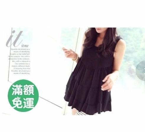 幸福孕婦裝【111009】棉質背心裙-黑色 娃娃裙 蛋糕裙 孕婦裙 寬鬆 舒適 可愛
