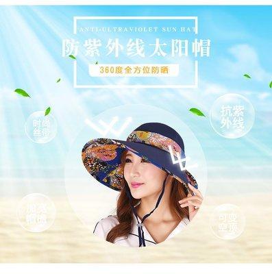 東大門平價鋪   韓版戶外防曬太陽帽,可折疊出遊沙灘帽,防紫外線 14cm帽簷,可變空頂帽 防風繩 舒適透氣