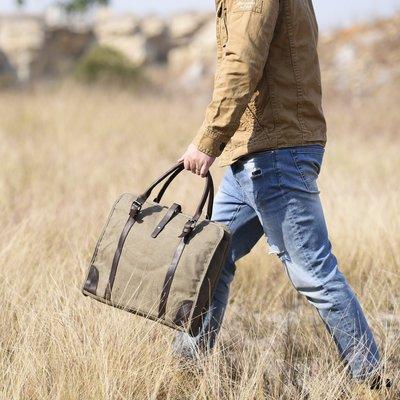~皮皮創~英倫風復古做舊水洗帆布配真皮手提包肩背包大容量公事包休閒包