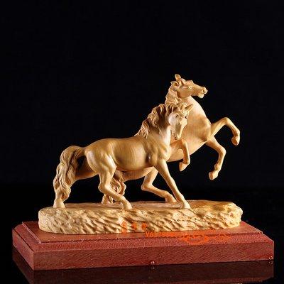 【福寶堂】黃楊木雕馬擺件家居裝飾品木刻...