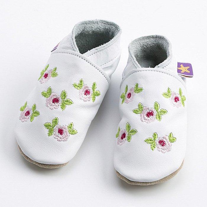 〖洋碼頭〗英國Starchild全牛皮軟底學步鞋玫瑰女孩白款 L2847