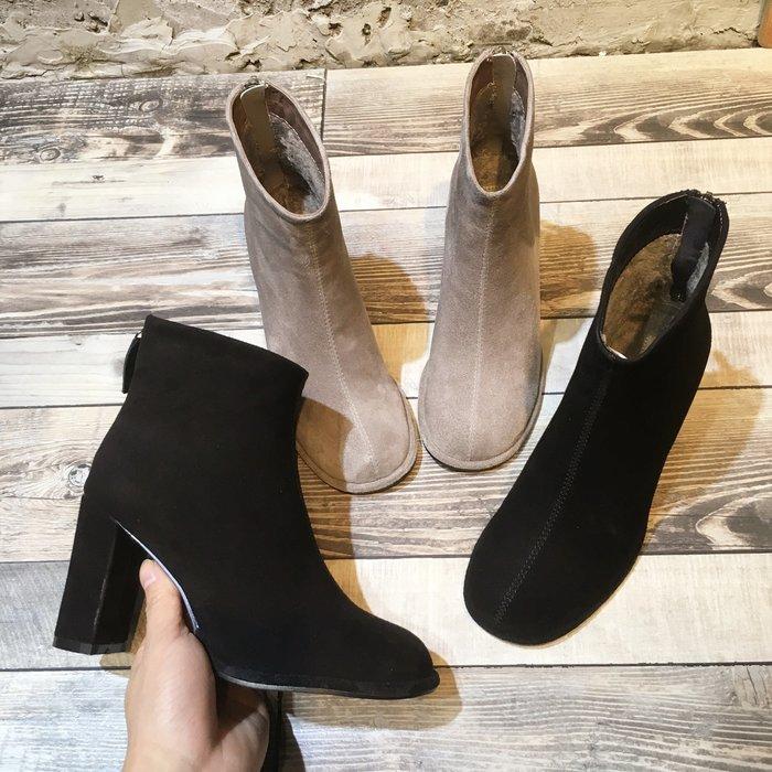 Fashion*歐洲風氣質短靴 秋冬羊猄皮圓頭粗跟女靴 顯瘦高跟短筒靴子