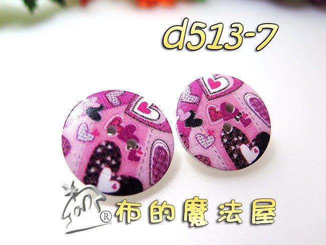 【布的魔法屋】d513-7粉底2入組2.3cm粉紅心彩繪雙孔圓形木釦(買10送1,彩色印花木釦,彩繪圓型原木質鈕扣子)