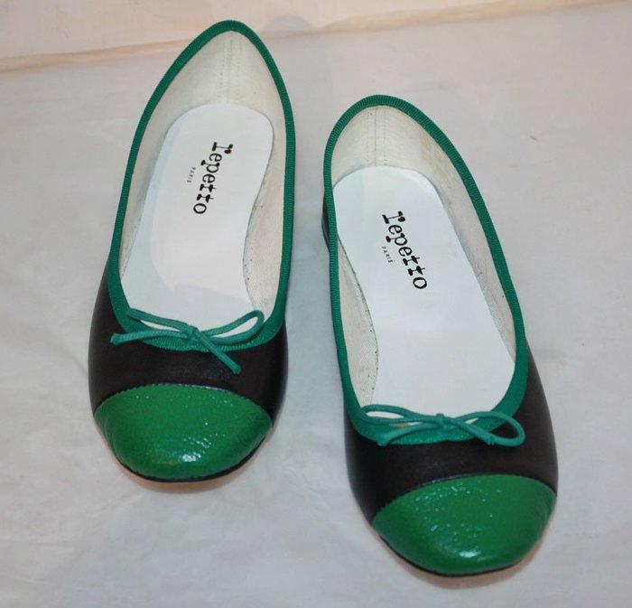 海洋工坊二手名牌旗艦店~repetto黑綠雙色平底鞋(size:36 1/2) ~~~~超值商品~~~
