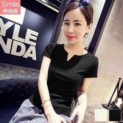 【V2833】SMILE-成熟甜美.純色V領修身短袖上衣