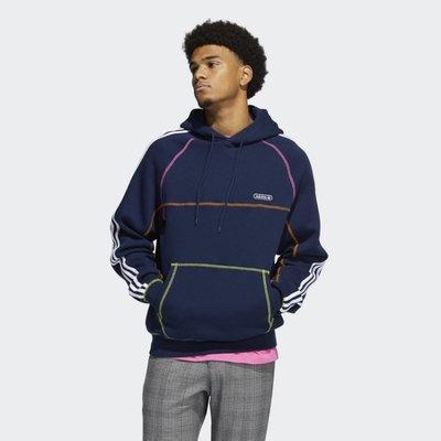 Adidas 愛迪達 撞色縫線 男款 連帽 帽T 藍GN3893