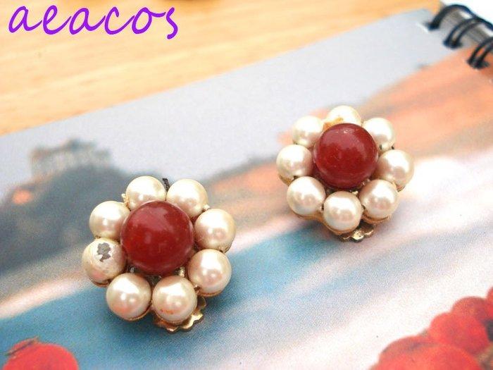 AEACOS@古董 古著 vintage retro MODs 小可愛白X紅串珠 珠珠花朵夾式耳環