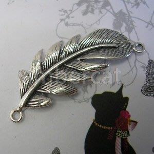 琥珀貓銀飾DIY【925純銀材料配件】連結配件~A0369~羽毛~一個